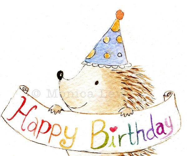 Birthday Card Cute Hedgehog by MonicaLewArt on Etsy