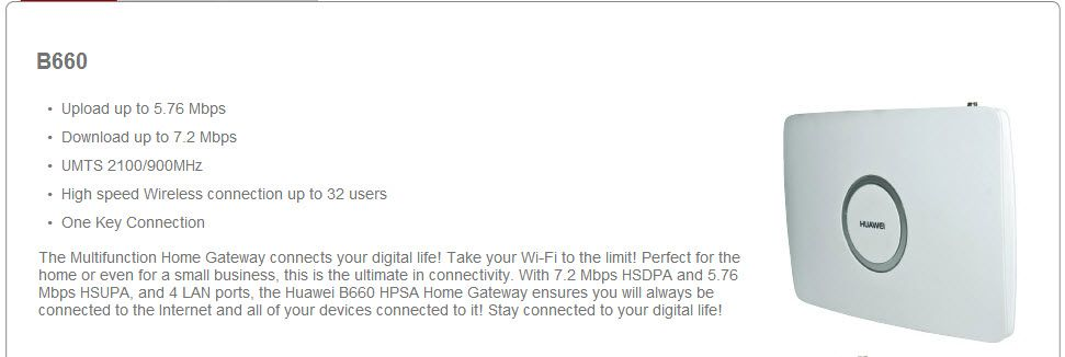 HUAWEI B660 Wireless Gateway key features | 3G/4G LTE Mobile