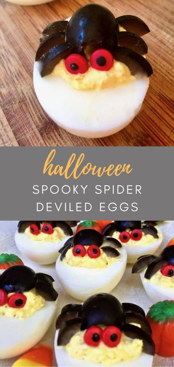 Quick and Easy Halloween Spooky Spider Deviled Eggs #halloweendeviledeggs