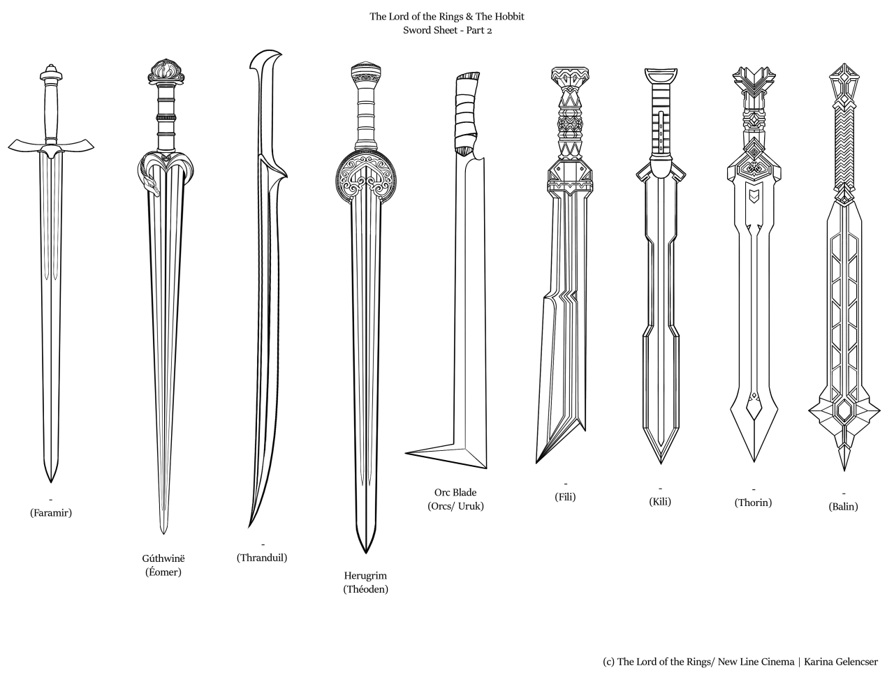 """rdjpwns: """"The Lord of the Rings & The Hobbit sword sheet I ..."""