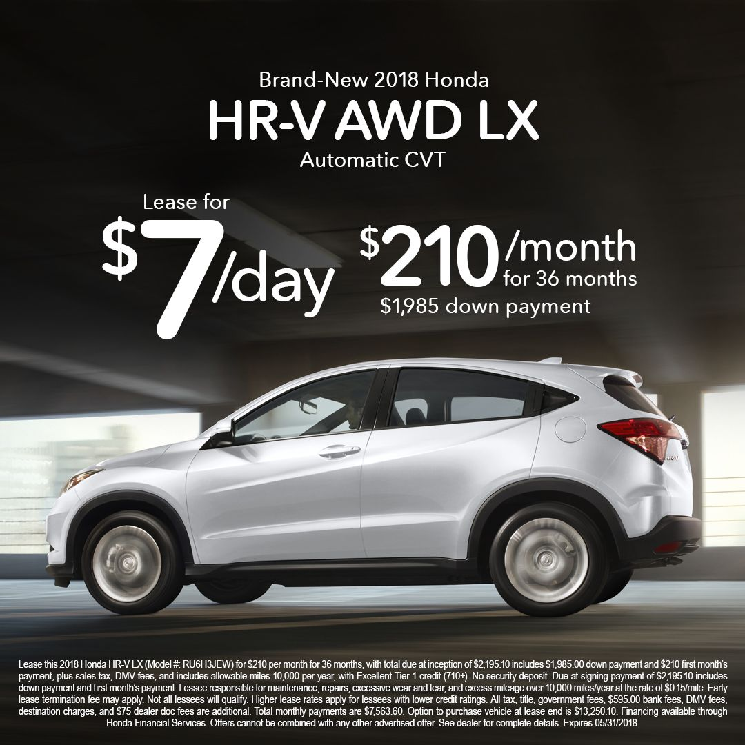 2018 Honda HRV LX AWD Lease for 7/ day W/ 1,985 down