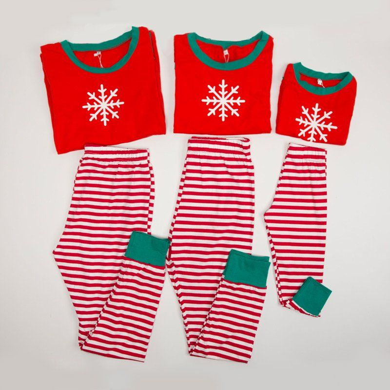 check out my new christmas family matching pajamas snow print top and stripes pants set snagged at a crazy discounted price with the patpat app