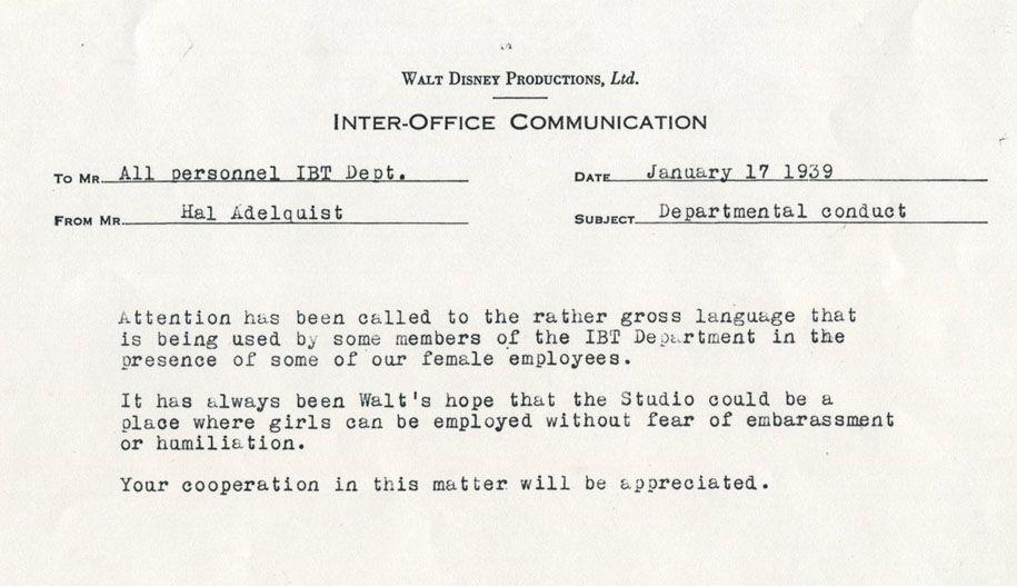 inter-office communication, walt disney. re:gross language | vintage ...