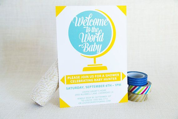 """""""Welcome to the World"""" baby shower invitation design by FMCstudio."""