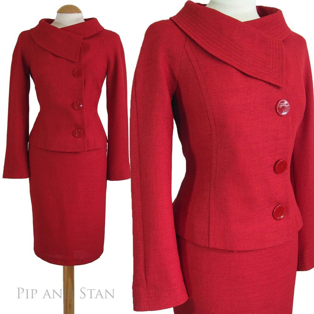 uk1614 us1210 wallis petite red pencil skirt suit 1950s