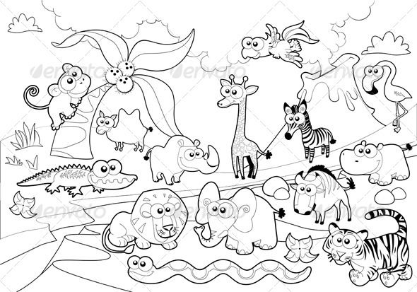 Savannah Animal Family With Background Zoo Coloring Pages