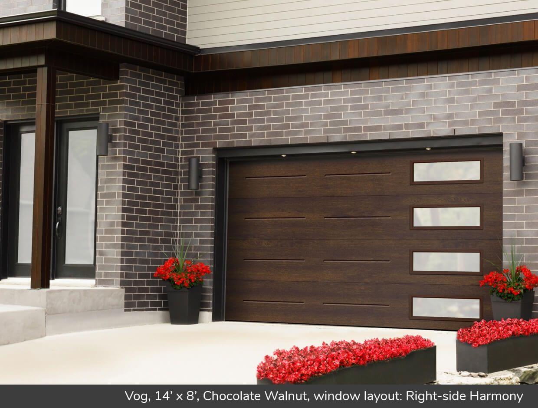 Vog 14 X 8 Chocolate Walnut Window Layout Right Side Harmony Modern Garage Doors Contemporary Garage Doors Garage Door Makeover