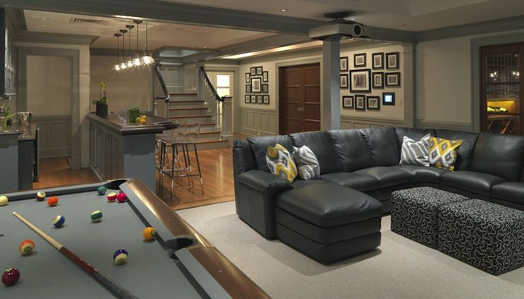 kate coughlin interiors: basement game room with off-white walls