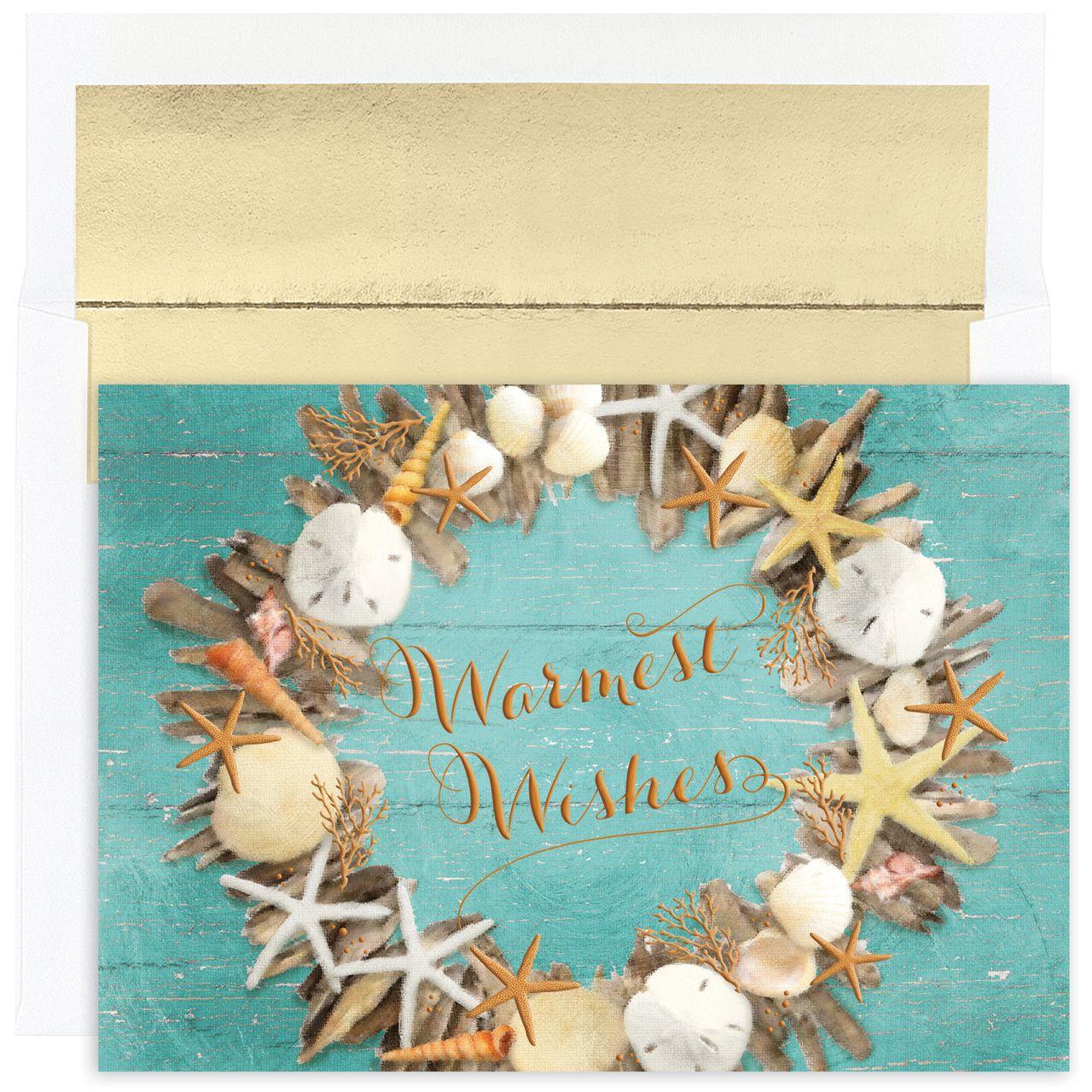 MyCards4Less - Coastal Wreath Tropical Christmas Cards, $16.00 (http ...