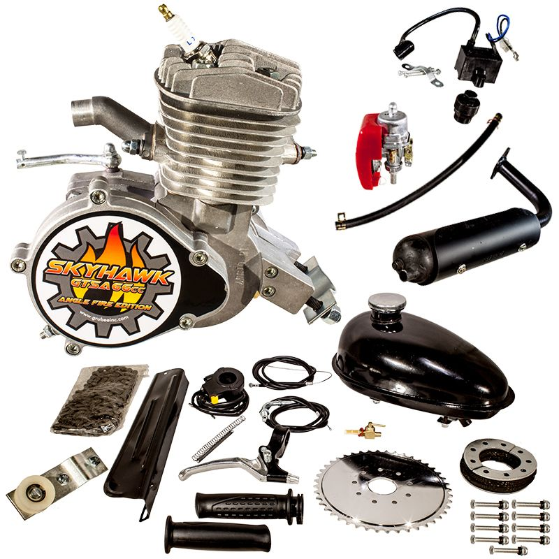 Radsport Silver 80cc 2-Stroke Petrol Gas Motor Engine Kit DIY Motorized Bicycle Bike QS