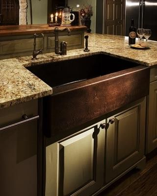 Apron Style Copper Sink Old World Kitchen ♥