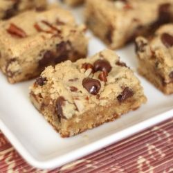 In the time the oven preheats, these Chocolate Chip Pecan Blondies can be ready to bake. Gluten Free and standard flour recipes included. nom