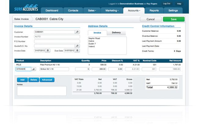 Free Online Invoice Templates Surf Accounts Offers Online Accounting Software With The Facility To .