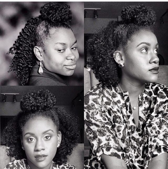 Iknowlee Inspired Hairstyle By Sashabasha2 Top Knot Bun Half Up Half Down Hairstyles For Curly Ha Half Up Hair Natural Hair Styles Highly Textured Hair