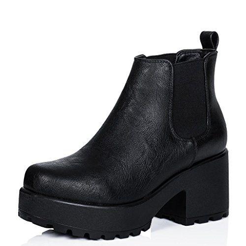 Spylovebuy YAEL Femmes Plateforme à Talon Bloc Bottines Chaussures - Noir Noir - Chaussures Low boots Femme