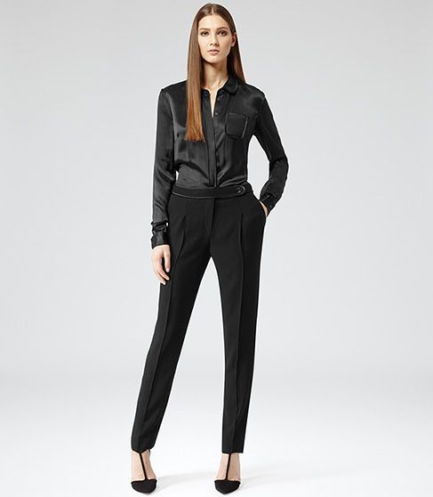 8ef75051317 Virge Black Satin Shirt Jumpsuit - REISS