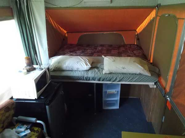 King sized bunk extension finished and the bed made up for camping.