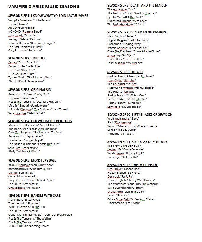 Vampire Diaries Music Season 5 page 1 | Vampire Diaries