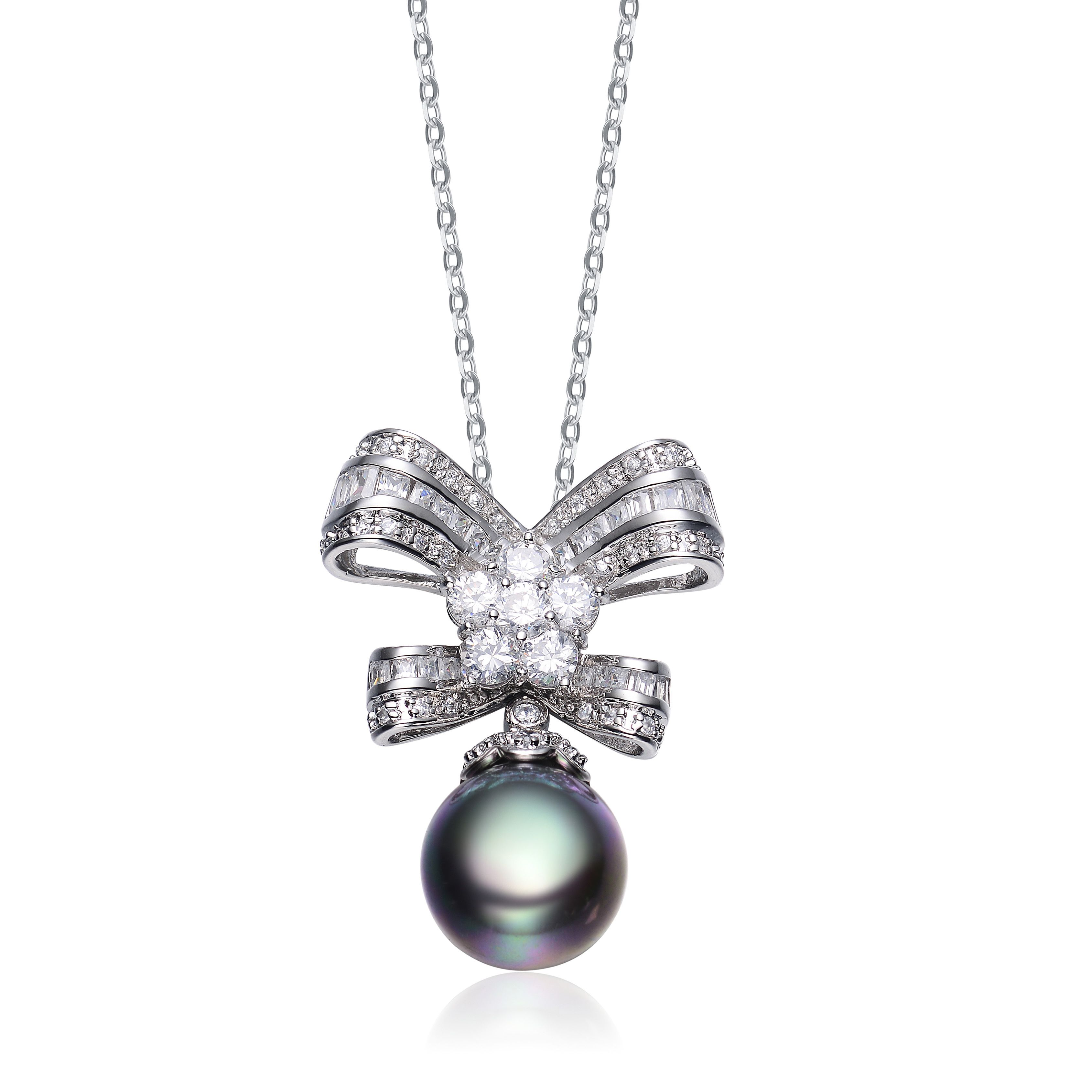 Collette Z Sterling Silver Cubic Zirconia Pearl Pendant