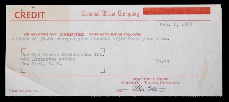 A Colonial Trust Company bank statement for Marilyn Monroe - bank statements