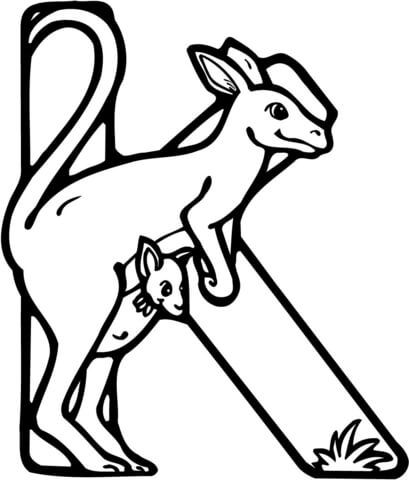 Letter K Is For Kangaroo Coloring Page From Learn English Alphabet Set I Category Select 28297 Printable Crafts Of Cartoons Nature