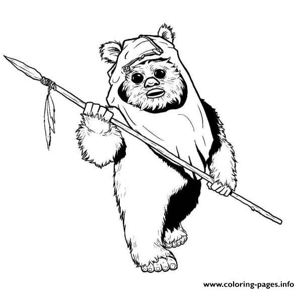 Print star wars ewok coloring pages