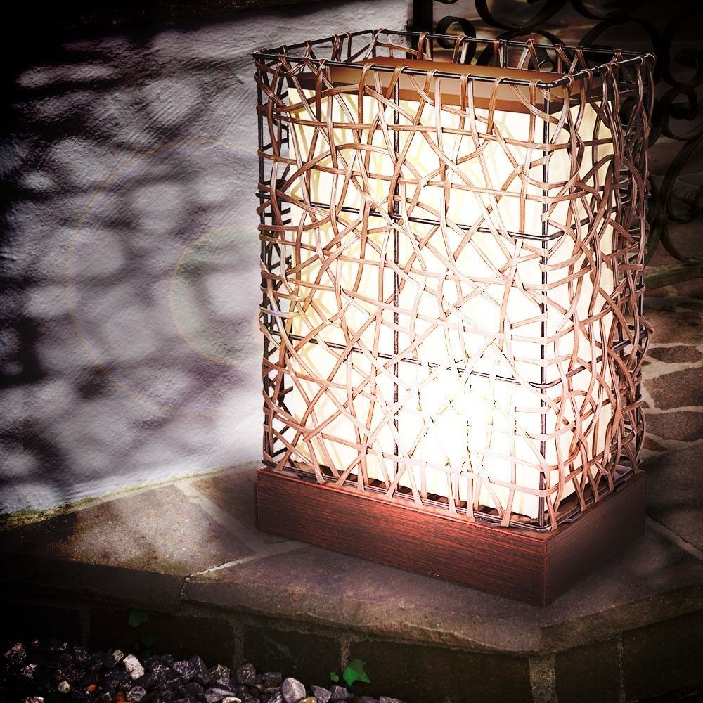 Led design au en steh leuchte 4 watt balkon garten stand lampe stoff beleuchtung in garten - Sockelleuchten garten ...