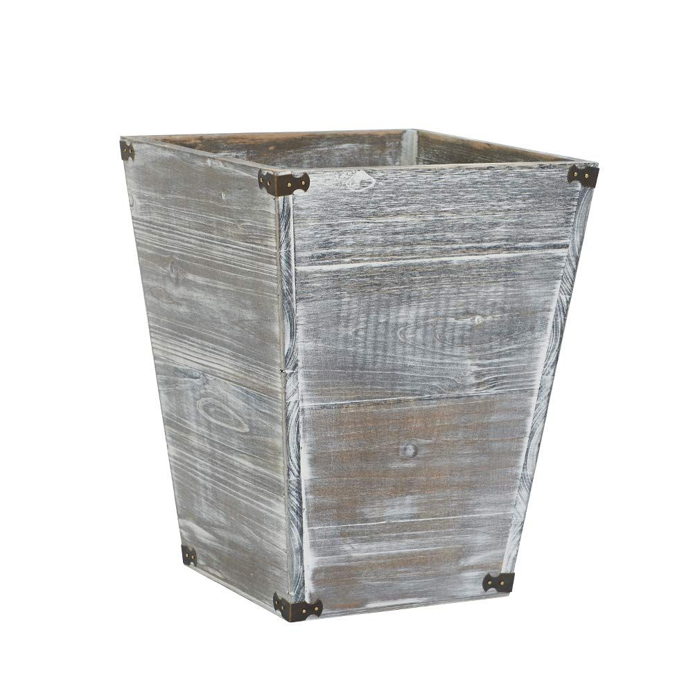 Amazon Com Vergoodr Gray Farmhouse Style Torched Wood Square Waste Bin With Decorative Metal Brackets Trash Can For Bedroom Torch Wood Wood Square Metal Decor