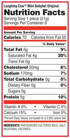Mini Babybel Original Nutritional Information