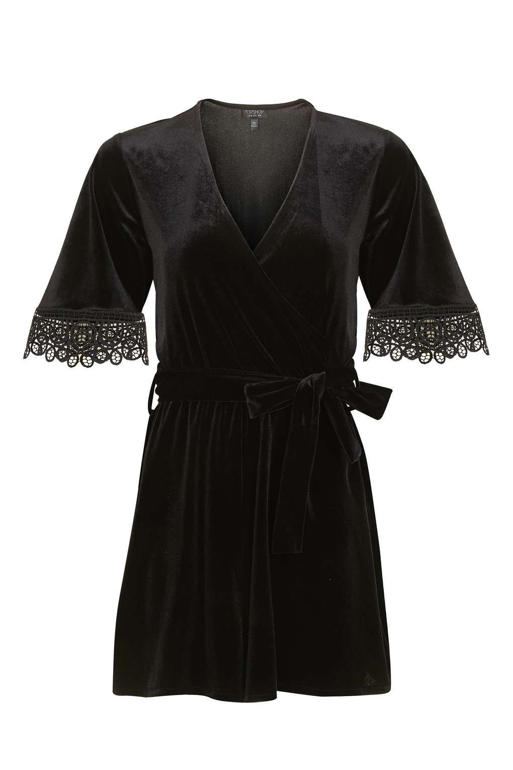 Velvet Wrap Playsuit - Playsuits and Jumpsuits - Clothing - Topshop Europe 7f06f7f234