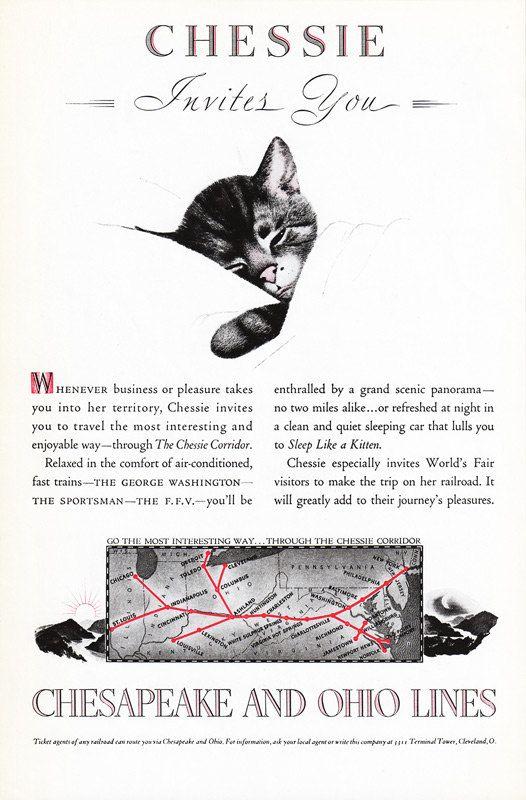 1939 Chesapeake Ohio Railways Advertisement Chessie The Cat By Phorgotten Vintage Advertisements Vintage Train Vintage Cat