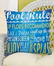 "16"" Outdoor Living Accent Throw Toss Pillow Pool Rules Lawn Furniture Pillow"