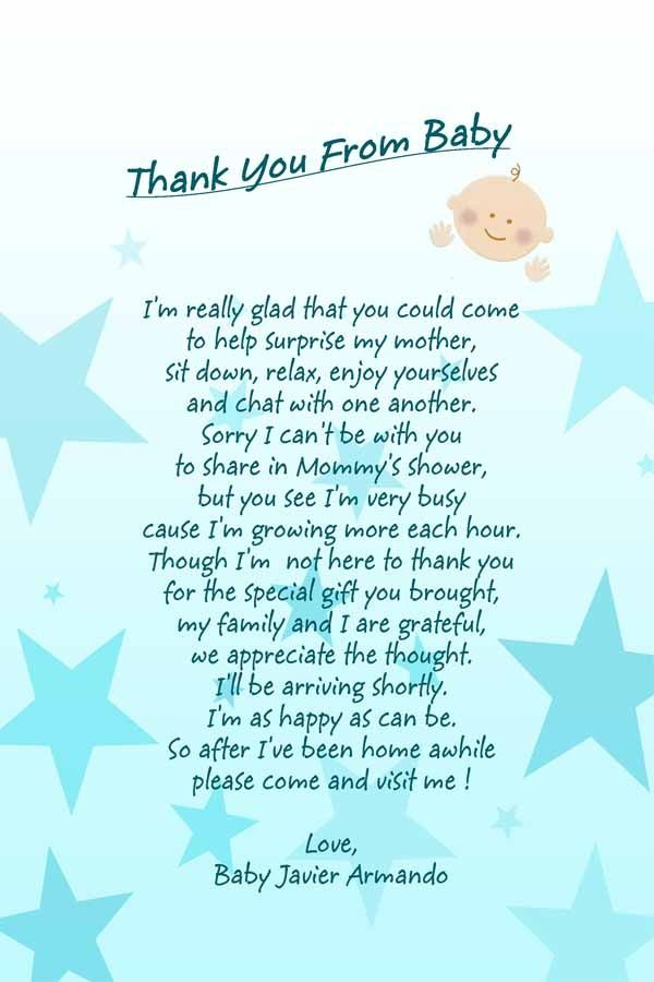 Amazing Baby Shower Message With Dark Blue Letters On Light Blue And