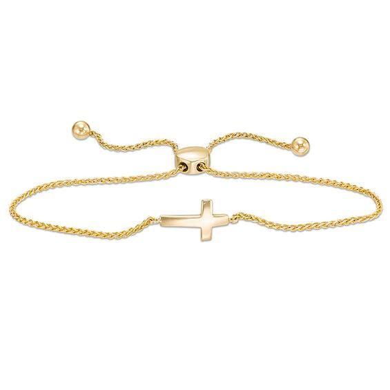 Zales Small Sideways Cross Bracelet in 14K Rose Gold - 7.5 XTvYVZ