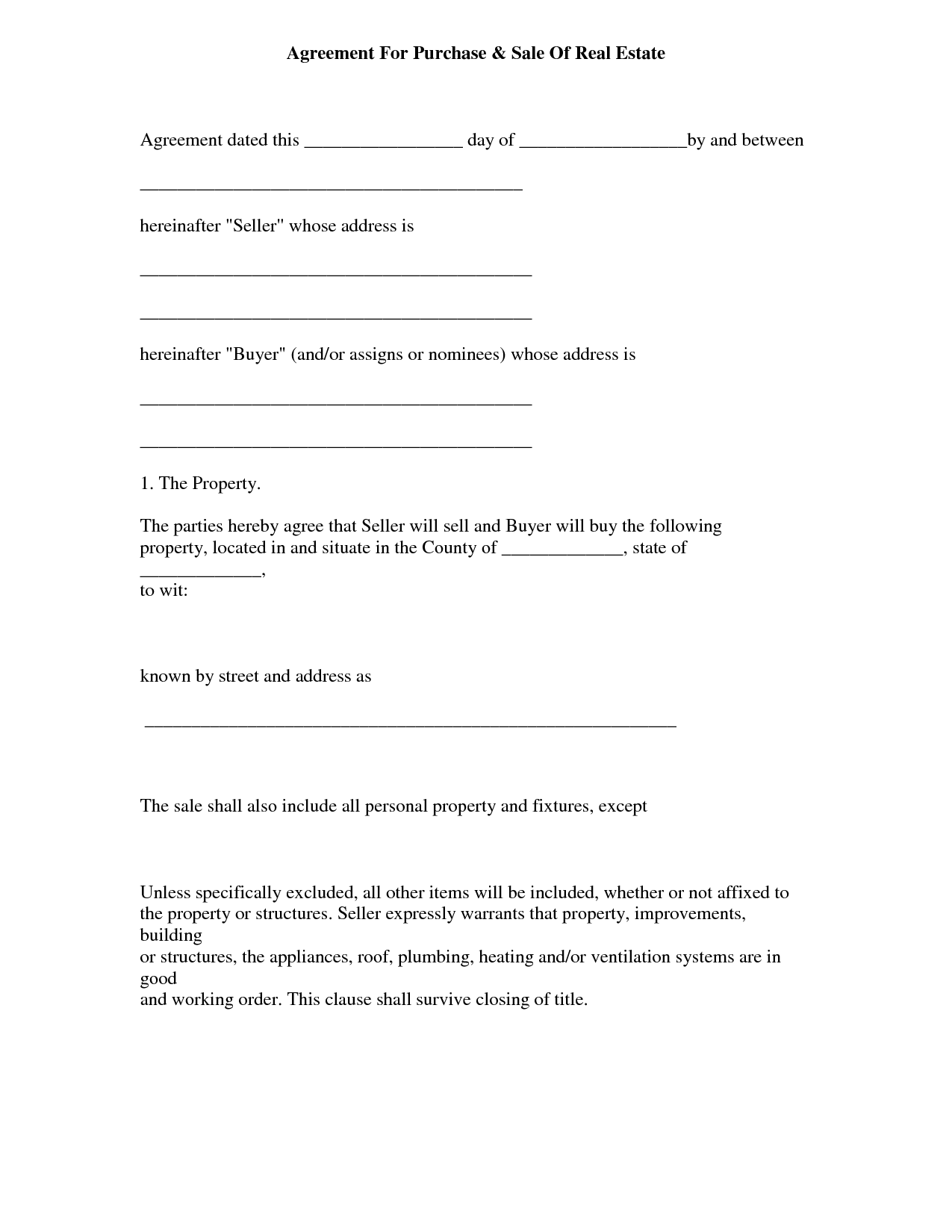 Simple Real Estate Purchase Agreement Form Memorandum