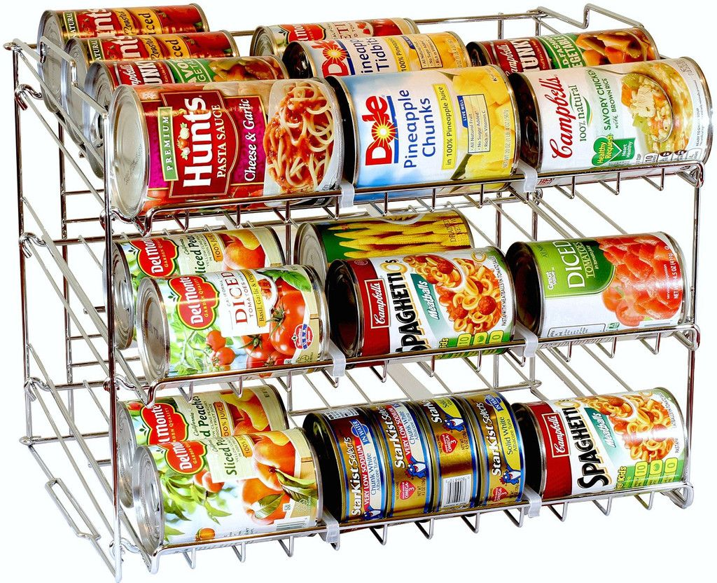 Supreme Stackable Can Rack Organizer by DecoBros. Organize your Kitchen Today with this DecoBros CanRack is a good solution for your kitchen to organize and store Cans. Dimension: 17-1/4 width, 13-1/4 depth, 13-1/2 Height Store up to 36 Can w/ variable size Capable to stack, a smart way to increase the storage size Made from heavy gauge steel, sturdy and strong, Elegant Chrome Finish Adjustable plastic dividers provide more flexibility to stores your grocery