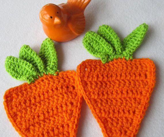 Easter Pot Holders Crochet: Two Orange Carrot Hot Pads, Carrot Pot Holders, Crochet