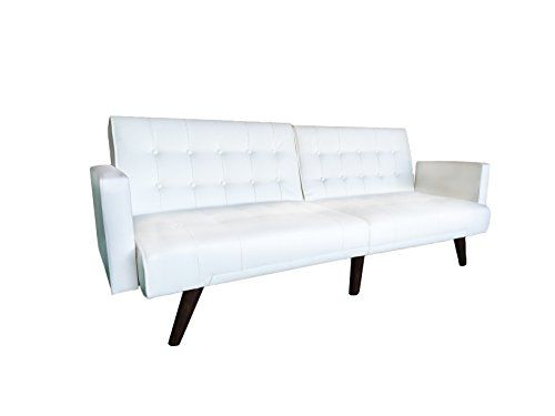 Modern Convertible Tufted Bonded Leather Splitback Sleeper Sofa