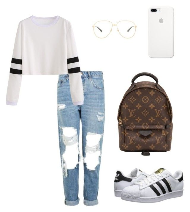 """Casual Day ."" by xxsadiepie on Polyvore featuring adidas Originals, Topshop, Louis Vuitton and Gucci"