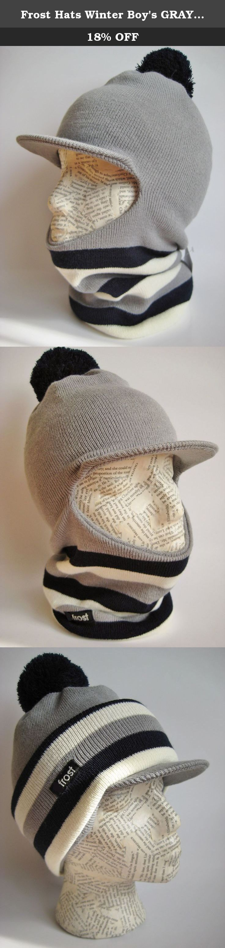 75f6b5ae592 Frost Hats Winter Boy s GRAY Hat Balaclava Ski Mask Narrow Stripes Knit  Frost Hats Gray.