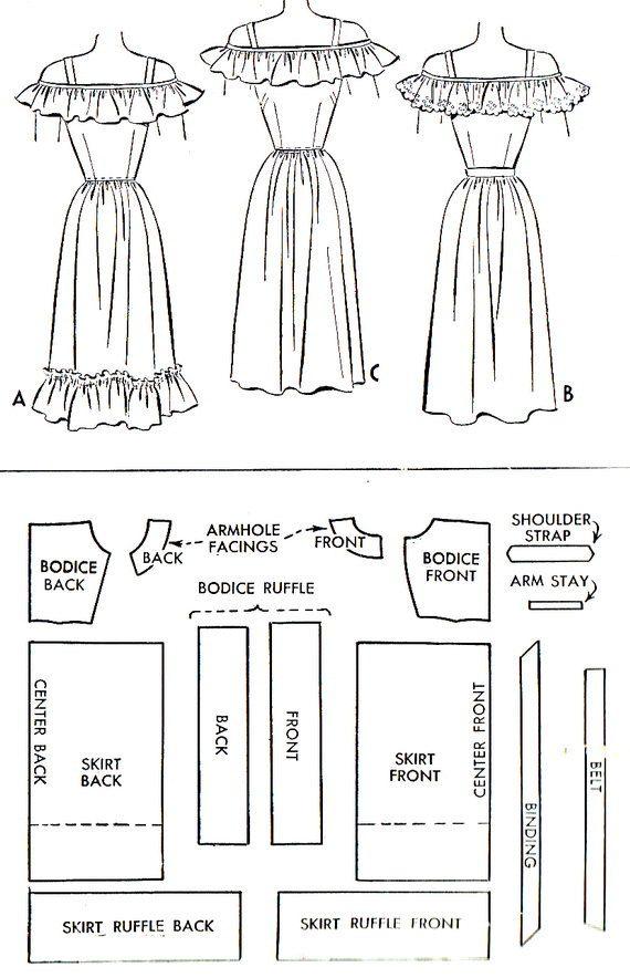 1940s Dress Pattern McCall 6853 Off Shoulder Ruffled Dirndl Skirt ...