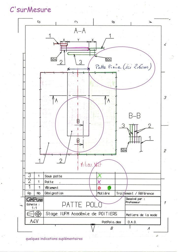 Trouvailles la patte polo industrielle dossier technique couture patte et patron couture - Exercice dessin industriel coupe et section ...