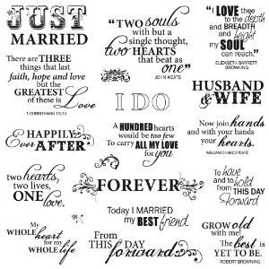 Fiskars 8-Inch by 8-Inch Quote Clear Stamps, Just Married | Cute ...
