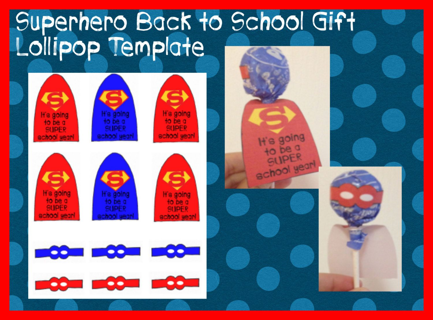 Superhero lollipop printable template back by for Superhero lollipop cape template