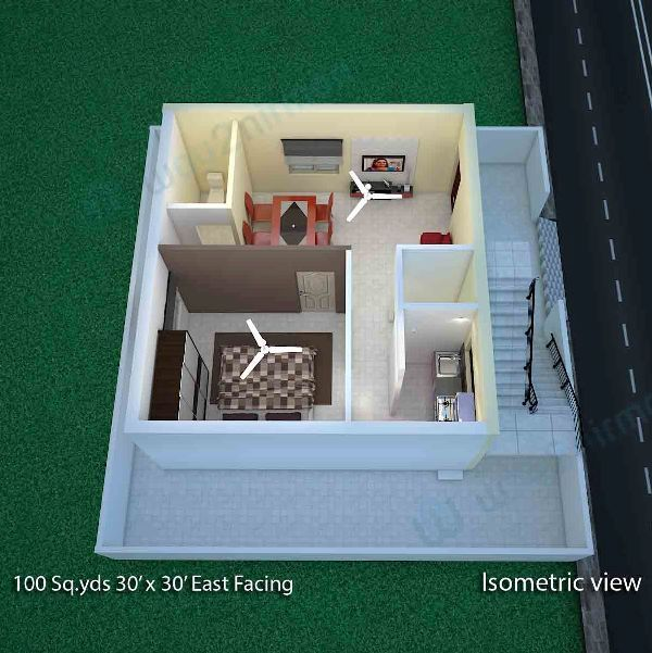 acf38d5693fb424677425de8c683363f 100 sq yard 30' x 30' sq ft east face house plan isometric view,Duplex House Plans In 100 Sq Yards
