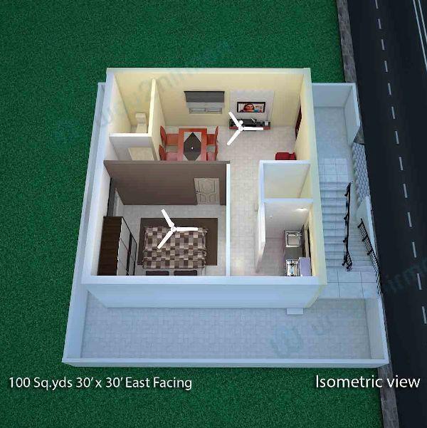 100 Sq.yard 30' X 30' Sq.ft East Face House Plan Isometric