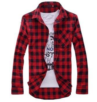 MENS VINTAGE PLAID CHECK LONG SLEEVE SHIRT,slim fit, shirts for ...