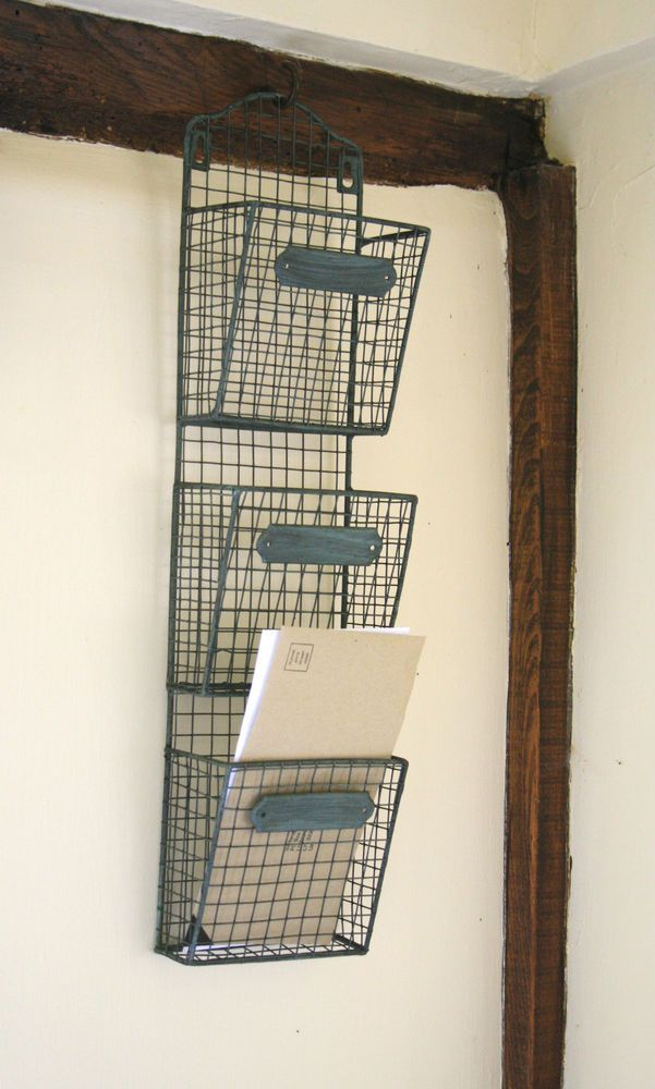 Wire Letter Post Stationery Rack Basket Vintage Chic Triple Wall ...