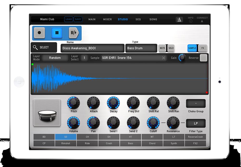 iSpark is Arturia Spark for iPad Music app, Drum kits, Ipad