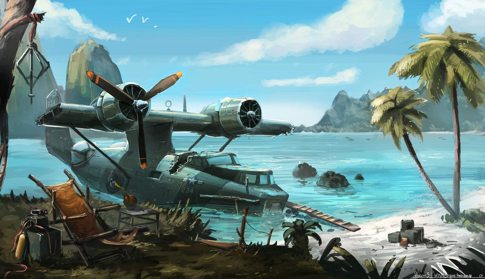 Обои war, Consolidated pby catalina, ww2, painting, aviation. Авиация foto 13